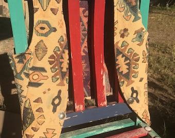 Vintage Southwest style vest, Western vest, vest with concha clasp, boho vest, southwest tapestry vest