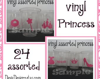 24 Princess Birthday Party vinyl decals Princess party decorations Princess party stickers vinyl cup sticker vinyl Royal princess Party cups