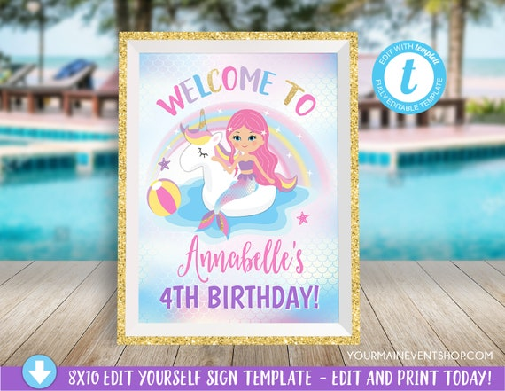 Unicorn Mermaid Pool Party Welcome Sign, Mermaid Party Welcome Sign Decoration, Pool Party Center Piece