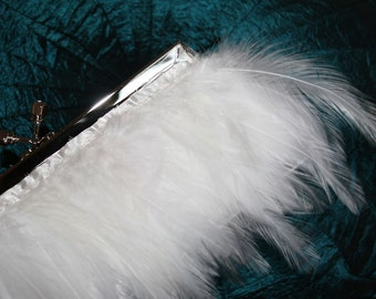 White Feather Purse  for Wedding Prom or Evening with SIlver Jeweled Swarovski Crystal Metal Clasp