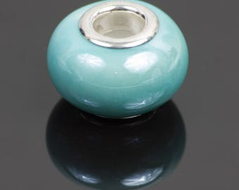 50 European turquoise ceramic beads