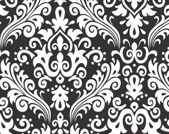 RILEY BLAKE Large Damask White on Black 100% cotton fabric by the Yard