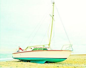 Vintage Sailboat Beach Art Print  - Teal Aqua Red White Beach Ocean Nautical Home Decor Photograph