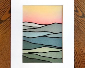 PRINT-- Yellow & Red Sunrise over the Mountains
