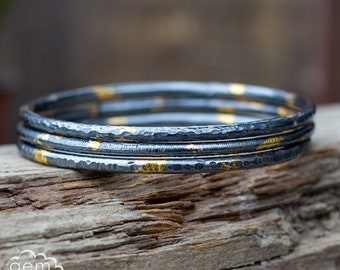 Sterling silver and 24ct gold, keum boo rustic bangle - From The Darkness -