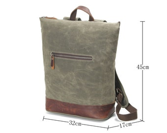 Top-Zipper Waxed Canvas  with Leather Backpack - Olive