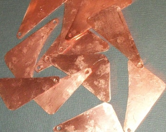 Recycled Hammered Copper Triangle Dangle