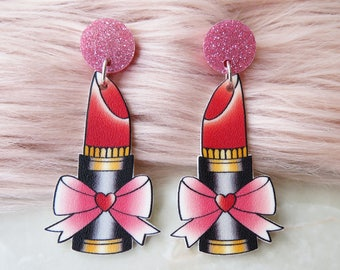 Vintage Lipstick Tattoo Dangle Earrings / Studs /  Pinup / 1950s / Vintage / Rockabilly / Retro