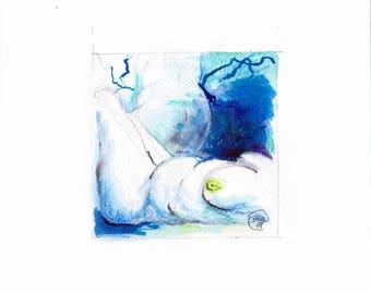 Blue Nude 01-nude-Watercolour-drawing-Aktgemälde-nude art-nude painting-Unique