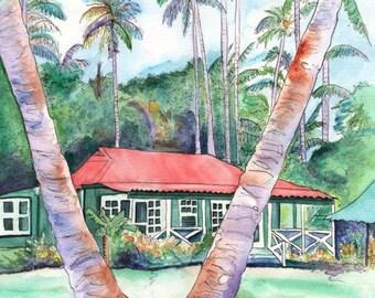 Kauai art prints,  Plantation Cottage art, Kauai giclees, Old plantation houses, Waimea Plantation Cottages, tropical houses, Hawaiian art