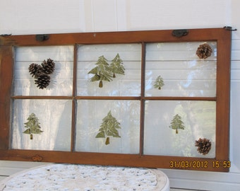 Glass Mosaic Hanging Window with Pine Tree Design