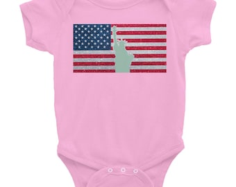 United States American Flag Statue Of Liberty Infant Bodysuit