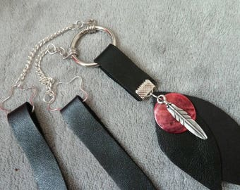 black leather necklace, Pink mother of Pearl, silver plated chain