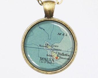 Custom Map Necklace -Malta, Mediterranean Sea -Vintage Map Series