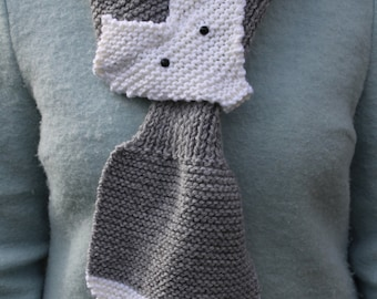 New Handmade Knitted Grey And White Woollen Wolf Scarf Animal Scarf Fox Scarf Fake Taxidermy Scarf Grey Wolf Winter Accessory