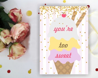 ICE CREAM THANK you card. Golden Dots. Ice Cream Birthday. Ice Cream Card. Any color. You're too sweet. Digital Printable