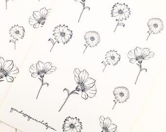 Wildflower stickers - flower stickers, bullet journal stickers, bujo stickers, planner stickers, erin condren, organiser stickers, scrapbook