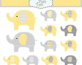 ON SALE elephant clip art - Digital clip art, cute elephant, yellow and grey elephant, instant download clip art