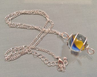 Silver Wire Caged Marble Pendant Necklace #20025