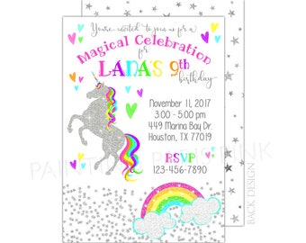 Unicorn Glitter Birthday Party Invitation | Printable OR Professionally Printed | 5x7