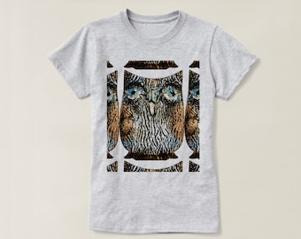 Graphic Owl  Basic T-Shirt, Segmented Abstract Graphic Wood Grain Owl Top for Women, Owl Lover Gift