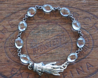 Antique Style French Ladies Cuffed Hand Rock Crystal Bracelet