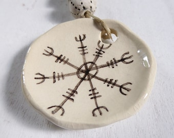 Helm of Awe - Artisan made ceramic focal - Unique - Hand Painted - Protection Talisman