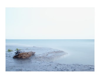 Minimalist photograph of rocks and water. Horizontal beach print. Modern coastal art for above bed. Prince Edward County photo.
