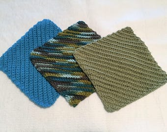 crochet dish cloths, crochet wash cloths, blue and green washcloths, blue and green dishcloths, cotton dishcloths