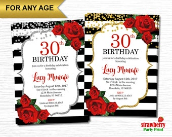 30th Birthday Invitation, Floral Birthday Invitations for Women, Surprise Birthday Invitation, Red Roses Black and White Stripes, A35