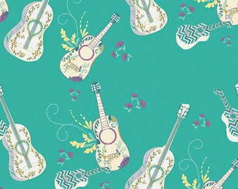 Art Gallery Fabric - Let It Be Breeze - Anna Elise by Bari J - Guitar Fabric - Music Instrument Fabric - Boho Fabric - Fabric by the Yard