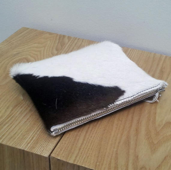 Cowhide purse - Brown/White, Cowhide pouch - natural brown/ white hairon cowhide