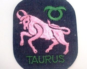 Taurus zodiac Astrology Horoscope - Vintage 1970's Sewing Patch Applique