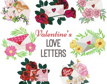 Valentine Love Letter Collection of 7 Machine Embroidery Designs