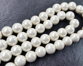 Hematite Pearly white Magnetic Round Beads