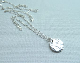 Sterling Silver Hammered Disc Necklace