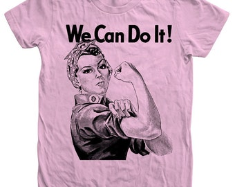 Womens WW2 Rosie the Riveter We Can Do it Tshirt Custom Hand Screen Print American Apparel Crew Neck Tshirt Available: S, M, L, Xl, 2Xl