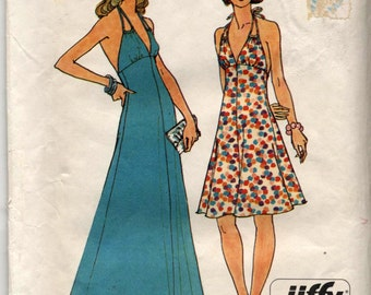 Vintage Halter Dress in Two Lengths - Simplicity Pattern 6385 Size 10 - UNCUT