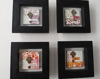 KEYS TO HAPPINESS mixed-media, collages, keys, shadow box, original art