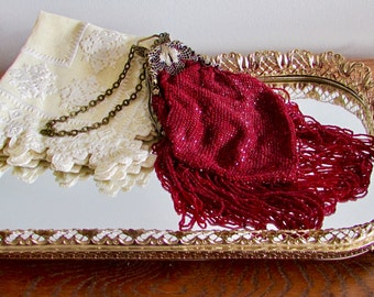 Victorian Red Glass Knit Purse With Butterfly Frame, Ornate Filigree Metal Closing Beaded Purse, Shadow Box Item, Antique Red Beaded Purse