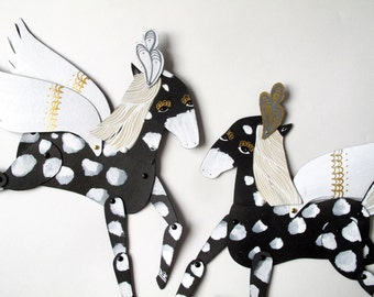 SALE Lightning / Caramel, Black Spotted and Plumed Horse Articulated Decoration  / Hinged Beasts Series