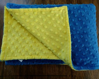 "Blue & Canary Yellow Minky Baby Girl Boy Blanket 29""x 35"" Shannon Fabrics Minky Cuddle Fabric Baby Gift"