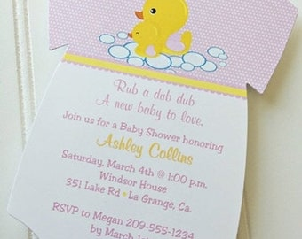 Baby Shower Onesie Invitation / Rub a dub dub / Duck /Baby Girl /  Set of 10