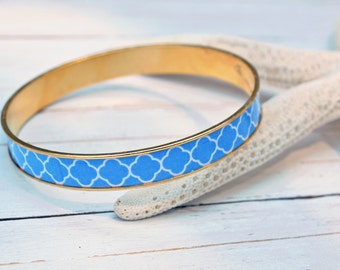 Women's Preppy Bangle Bracelet - Blue Lattice