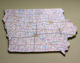 IOWA State Vintage Map Wall Decor (Medium size)