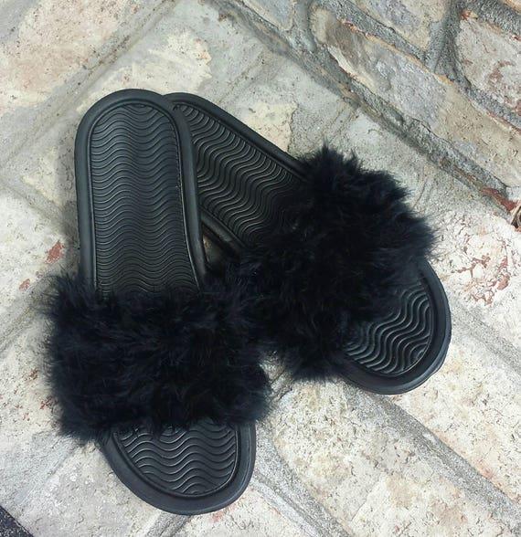 Black Fur slides - Furry Slides - Custom Slip Ons - Rihanna slides - celebrity  fur slides - black fuzzy slides - Nike fur slides