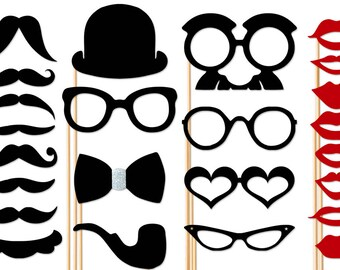 Photo Booth Props 24 Piece Wedding Party Set - Photobooth Props - Birthday