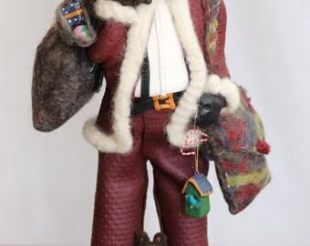 Père de l'ancien monde, en pâte polymère et de laine feutrée, animaux et jouets sac
