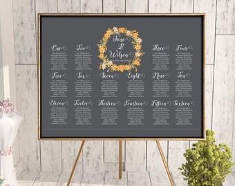 Printable Autumn Orange Wedding Seating Chart, Find your seat, Wedding Seating Poster, Wedding Seating Sign, Wedding Seating Board WD62