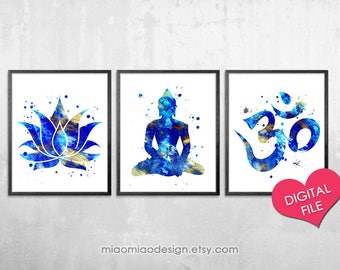 Watercolor Buddha Wall Art, PRINTABLE Art, Digital Download, Printable Lotus Artwork, Om Symbol Print, Buddhist Decor, Yoga Studio Prints